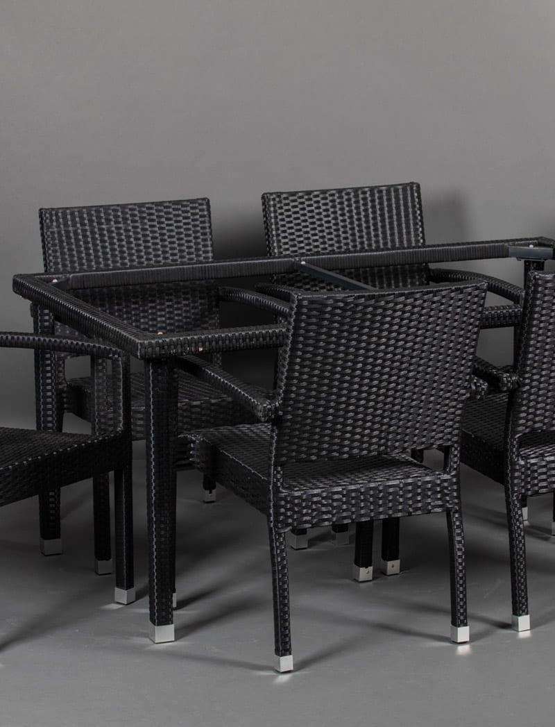 postolje vrtni set crno Garden, ratan postolje za stol