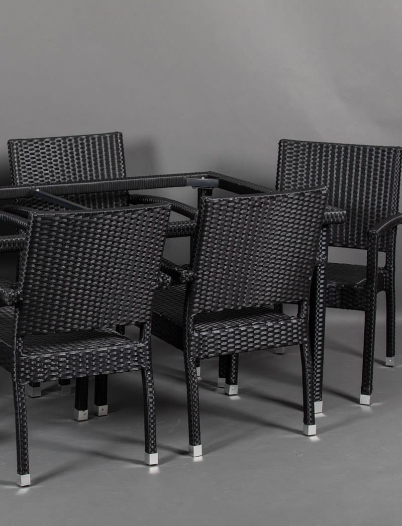postolje vrtni set crno 2 Garden, ratan postolje za stol