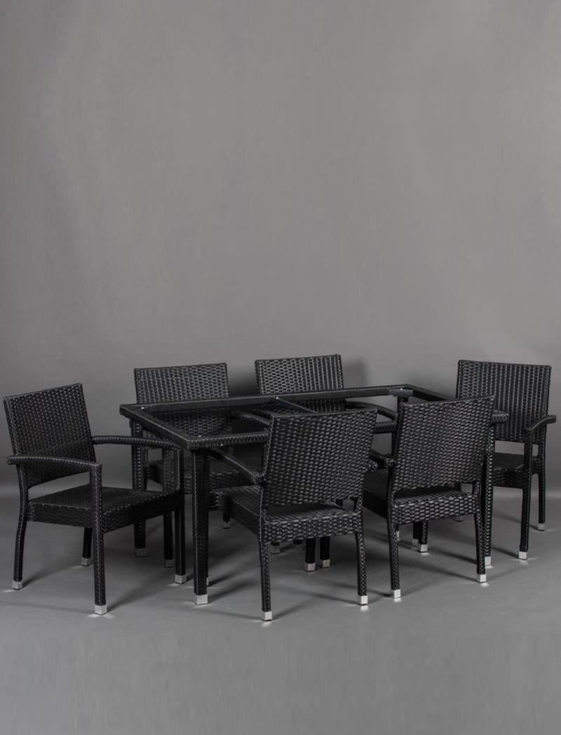 stol crni 3 Garden, ratan postolje za stol